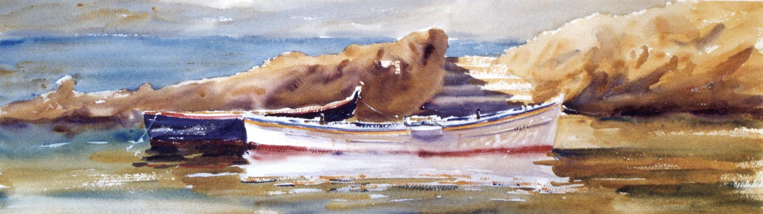 Sunny Day, Giglio Island  This painting has a great sense of light and sun. The reflection of this beautiful white boat was painted at the same time as the boat. It didn't have to be the perfect shape to begin with as I knew that the surrounding water would be darker and I chiseled out the shape of the boat with this dark negative space.