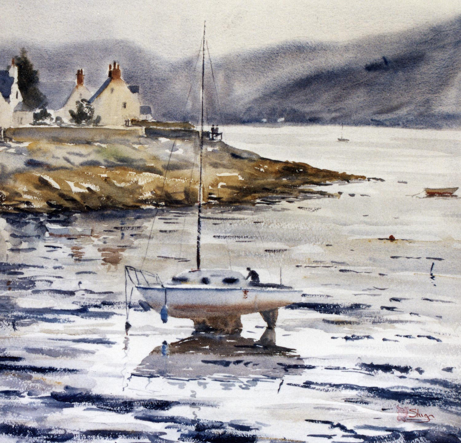 Plockton, Scotland  In this painting the low tide has left pools of water amongst the mud and sand. The lone boat sitting on its double keel is reflected in one of these puddles. It can be seen that the reflection is not an inverted copy of the boat, but instead we get a sense that the underside of the boat is reflected.