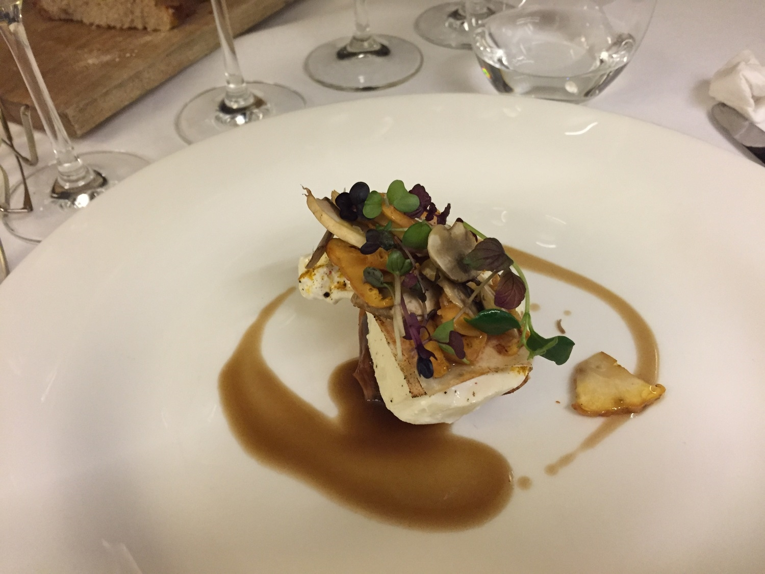 Milhojas (Thousand Layer Puff Pastry) with Burrata and Mushrooms