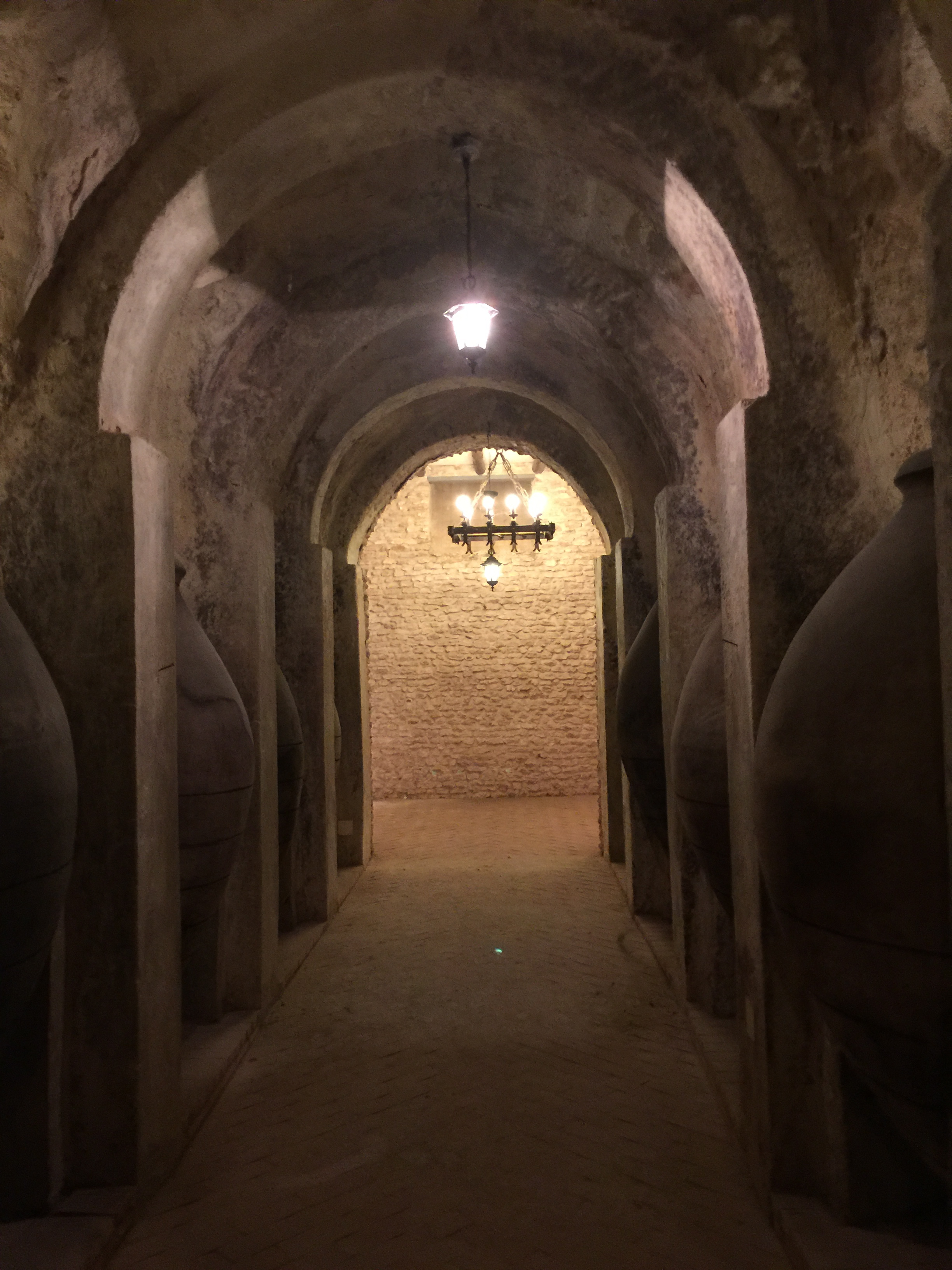 Cave lined with cement amphorae