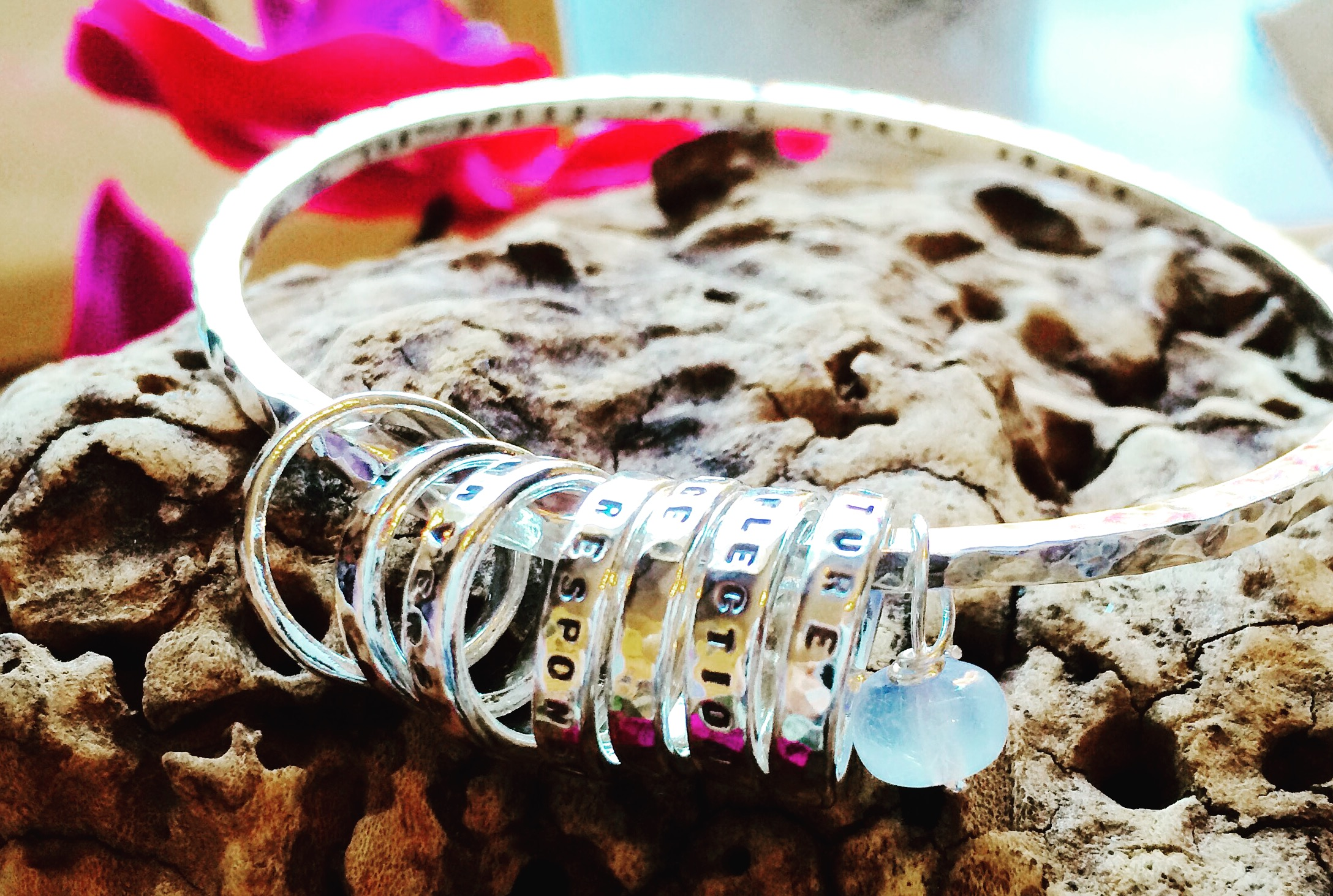Custom Storyboard Bangle with Rings & Moonstone
