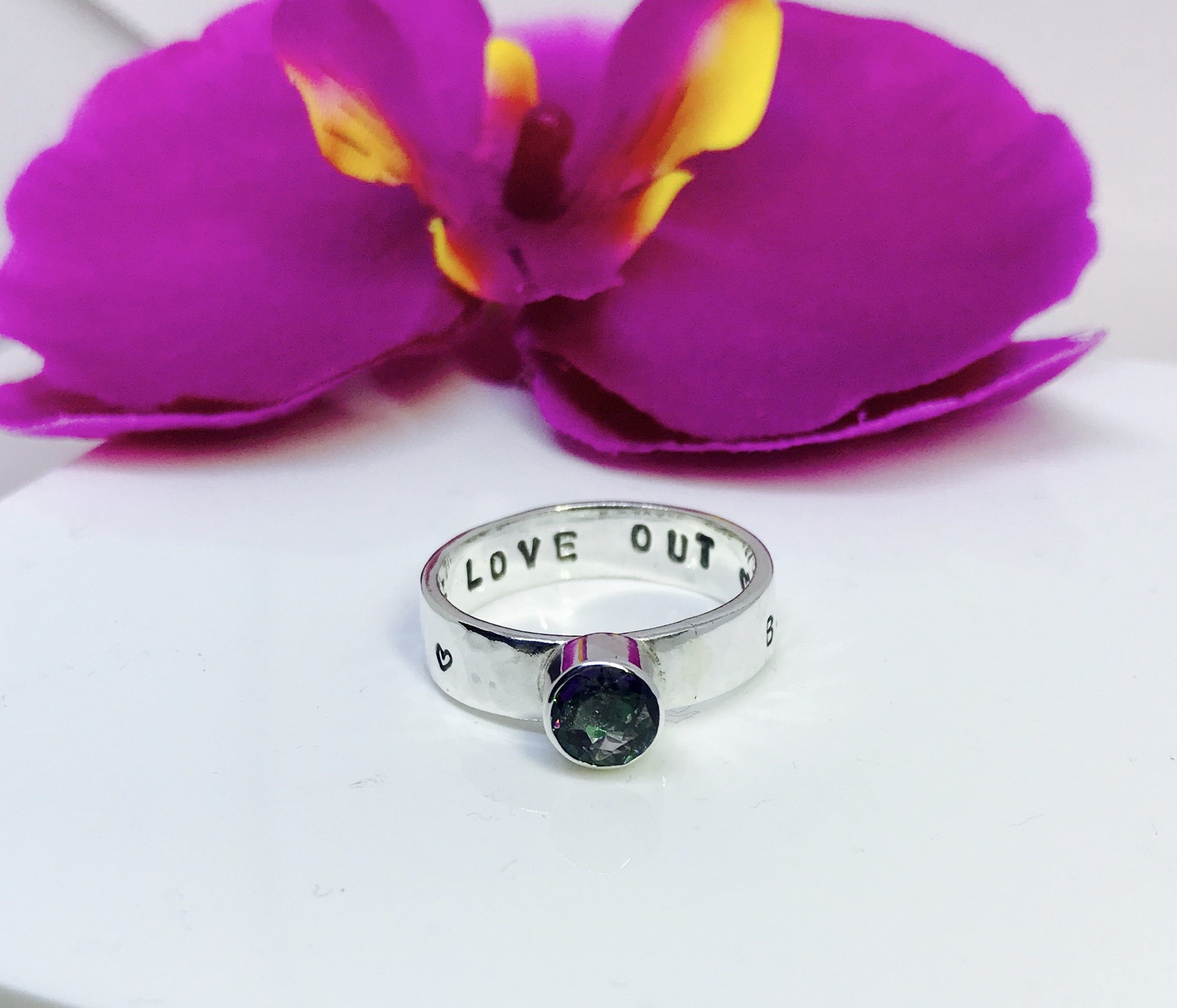 Custom Wide Storyboard Ring with Mystic topaz