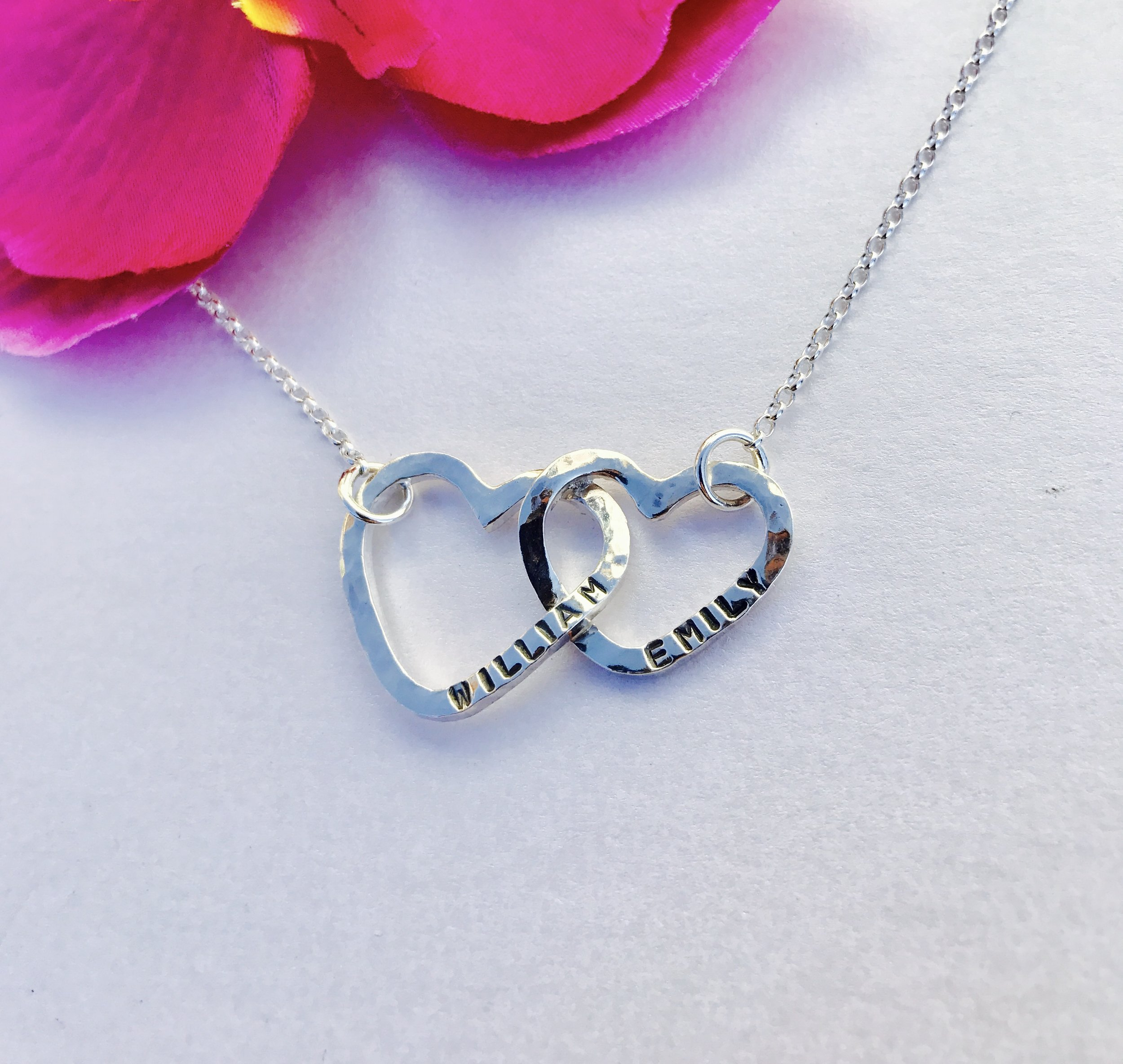 Personalised Hearts Connected Necklace