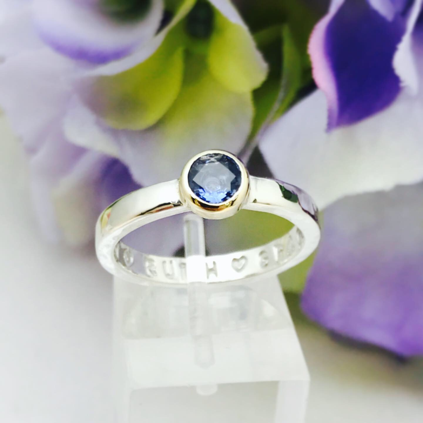 Bespoke Yellow Gold Set Sapphire Love Prevails Ring - personalised