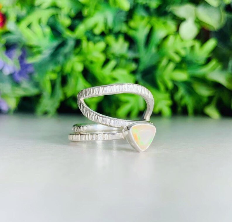 Opal Trillion Stacker Wave Ring