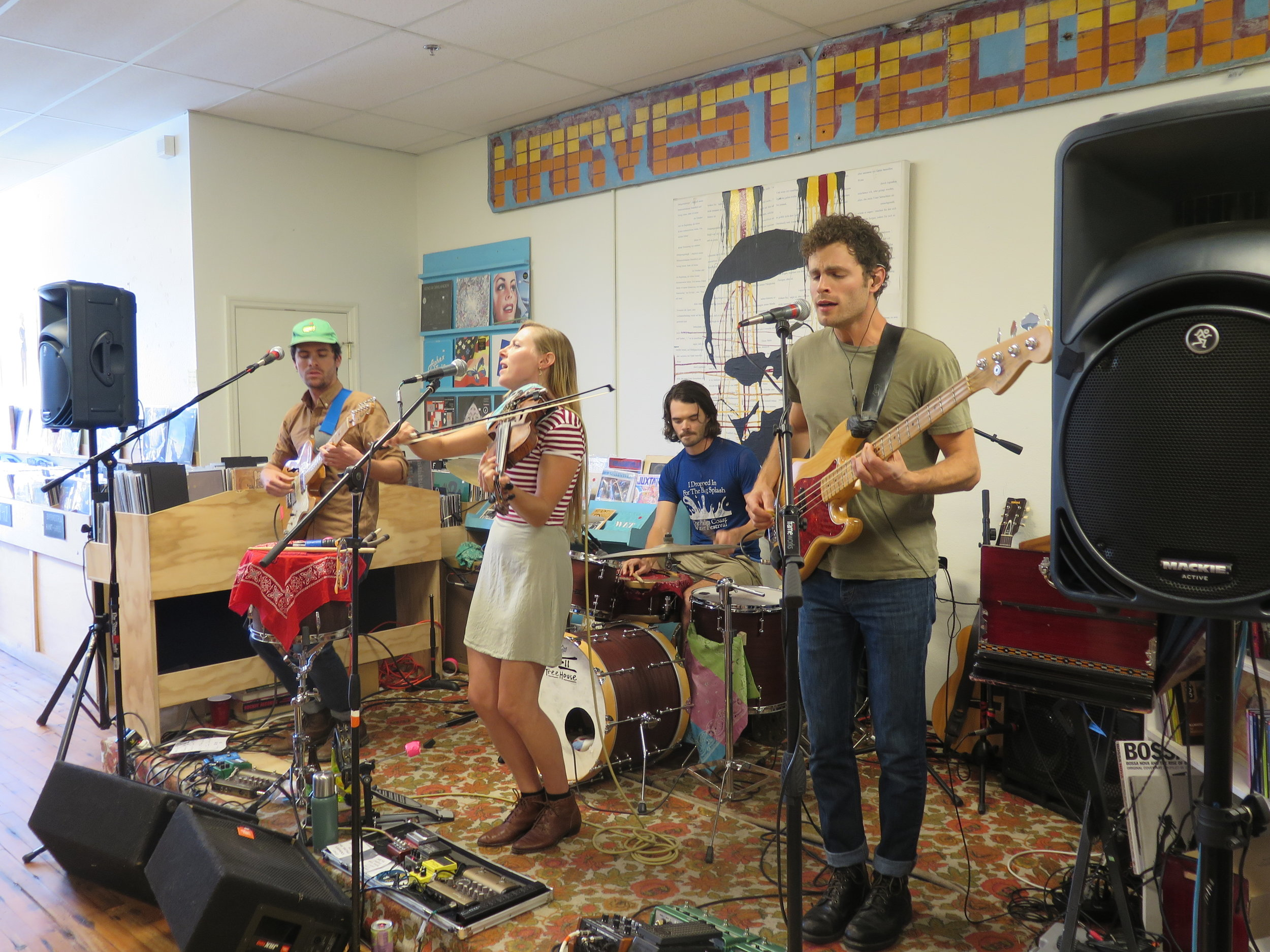 River Whyless 8-26-16 at Harvest Records (l to r): Ryan O'Keefe, Halli Anderson, Alex McWalters, Daniel Shearin