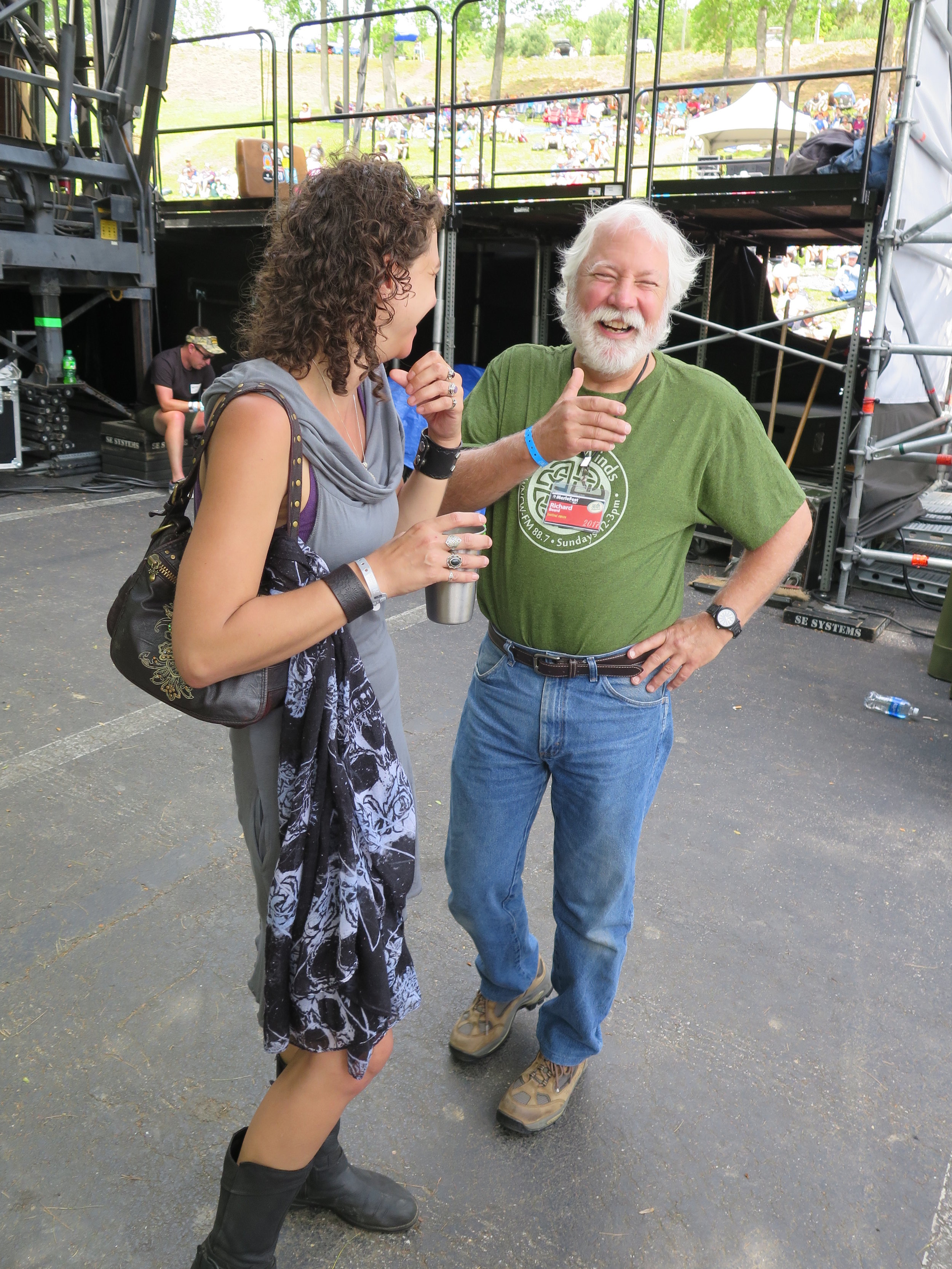 Erin Scholze of   Dreamspider Publicity   and WNCW's Richard Beard behind Hillside Stage at MerleFest