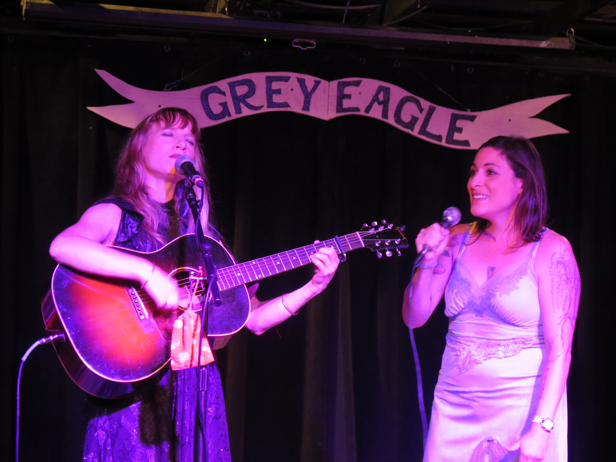 Anya Hinkle of Tellico and Jane Kramer performing in Asheville. Jane sang with Anya on her 2016 solo release Forsaken Wind.
