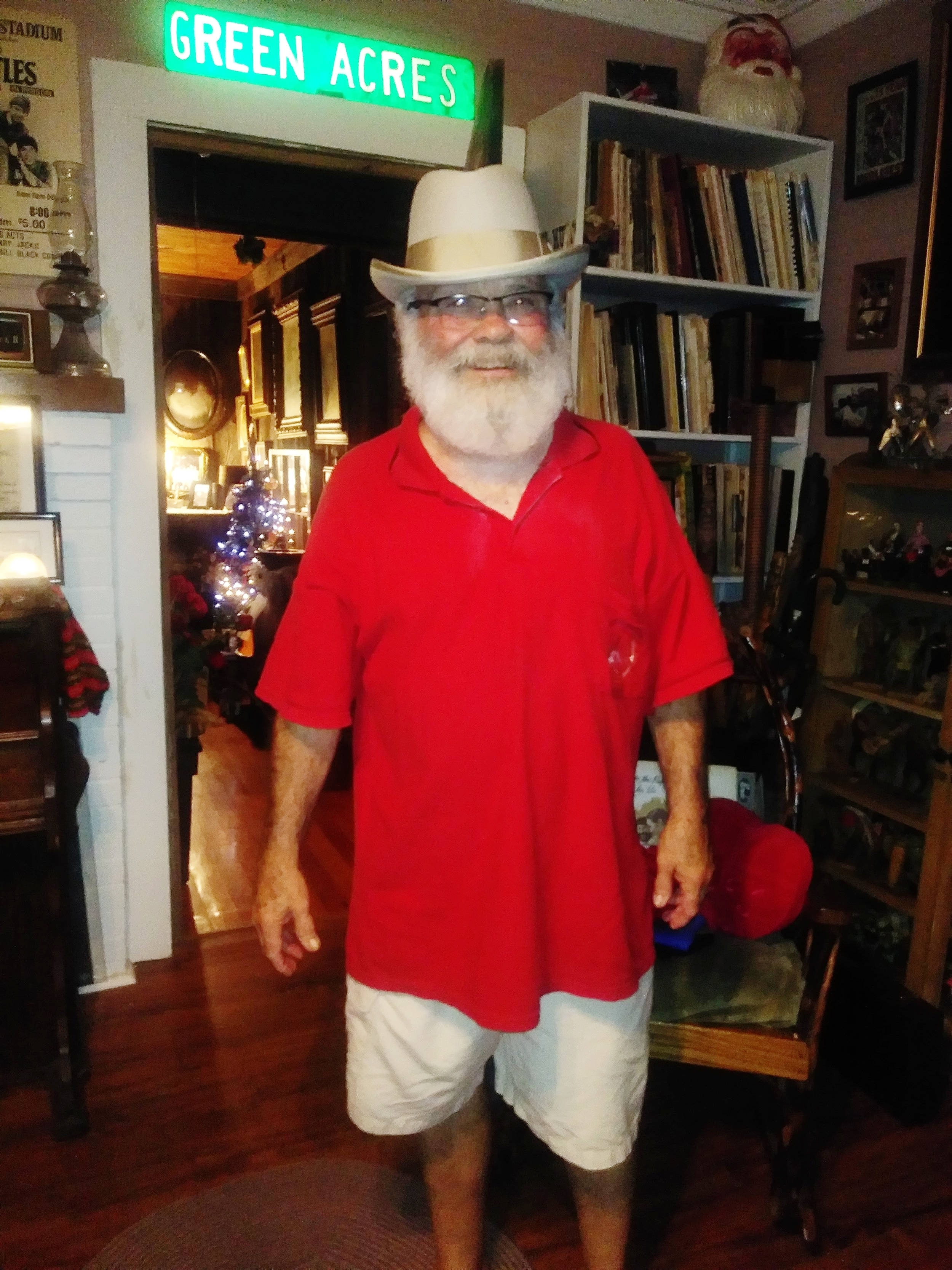 The Little King, Steve Metcalf, at his home in Forest City, NC, after being interviewed for our podcast on Acoustic Syndicate. He's looking dapper in the hat that Jerry Douglas gave him at this year's MerleFest.