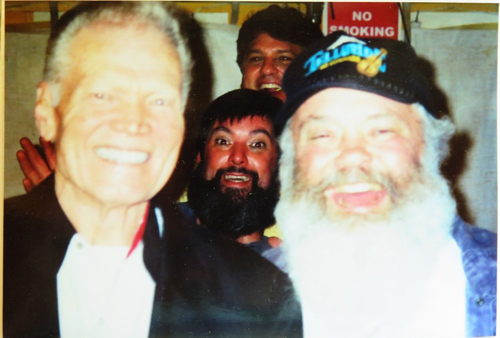 """The late great Vassar Clements (L) with Larry Keel (middle) and """"Little King"""" Steve Metcalf (R) at Green Acres Music Hall"""