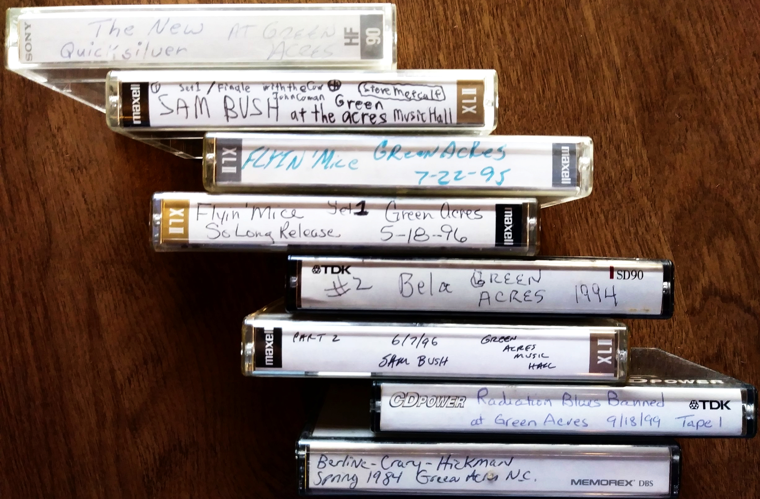 Cassettes of Green Acres Music Hall shows dating back to 1984