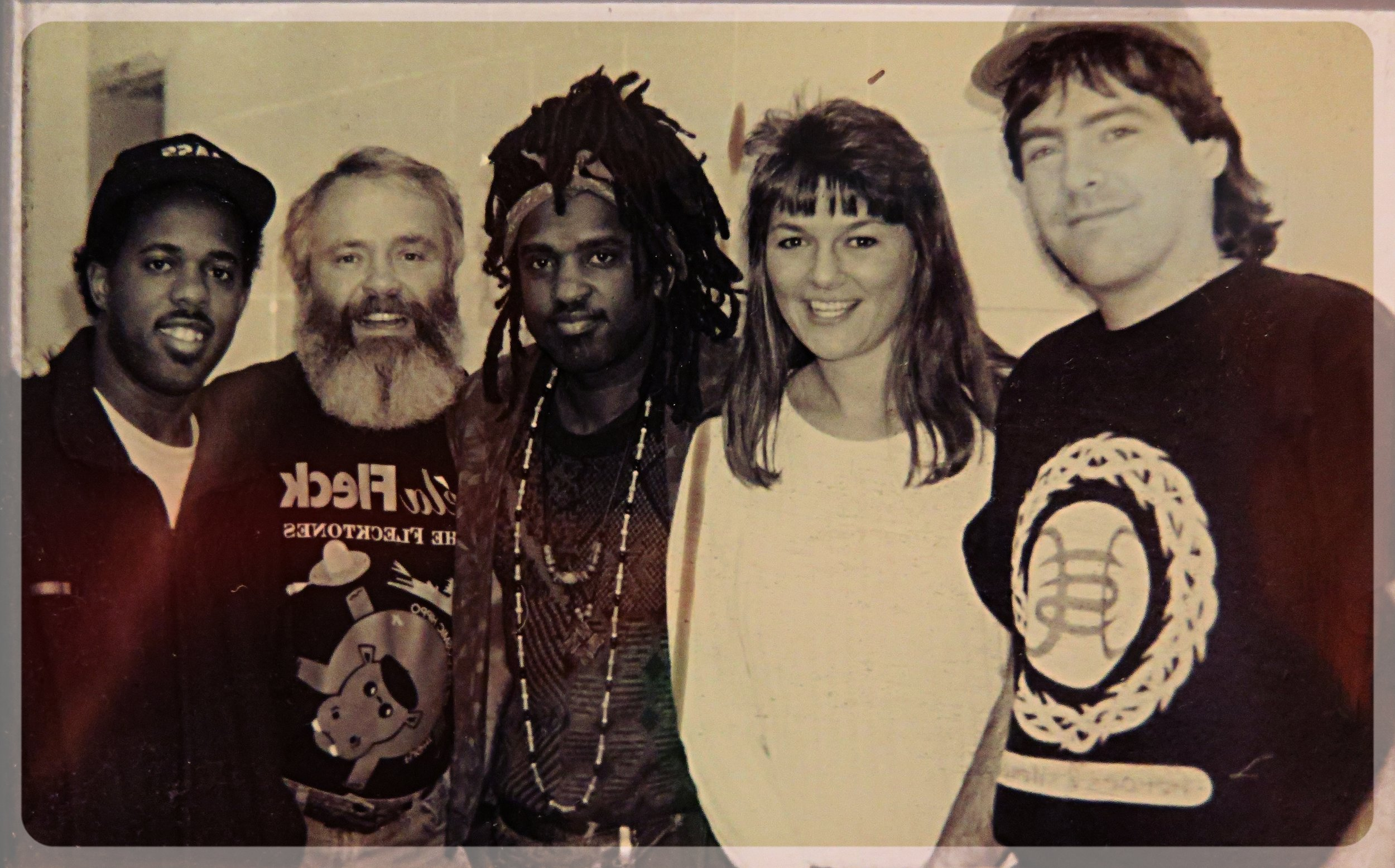 "Victor Wooten, Steve Metcalf, Roy ""Futureman"" Wooten, Vicki Dameron and Bela Fleck in the early 1990s"