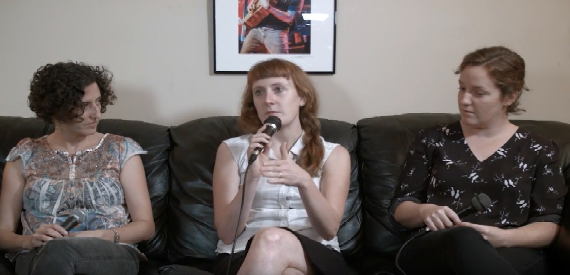 (L to R) Natalya Weinstein, Amanda Anne Platt, and Hannah Kaminer on set at   IAMAVL   for the video which serves as the starting point for our podcast episode.