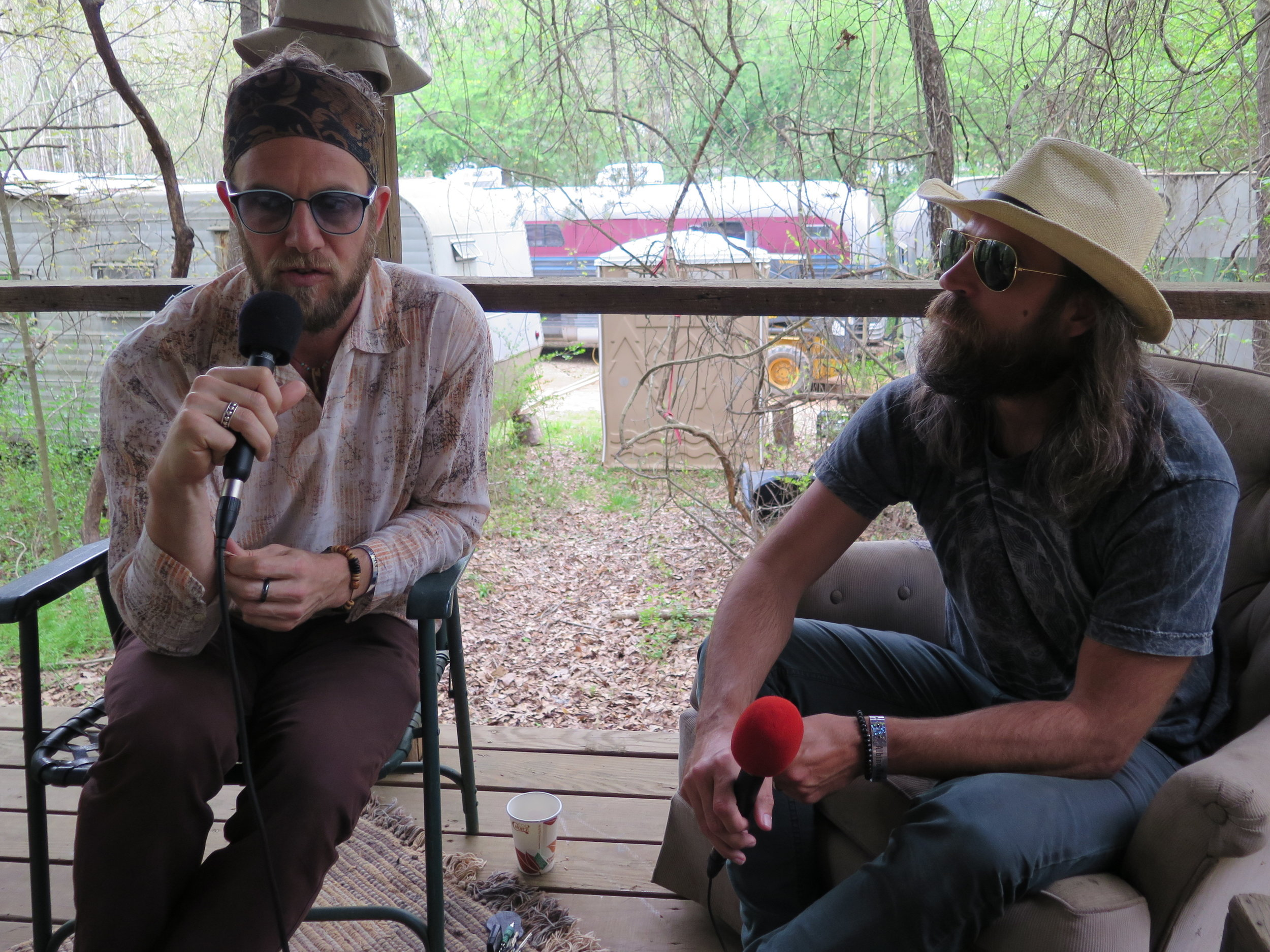 Mike Sivilli (left) and Dan Lotti (right) of Dangermuffin interviewed in the Nap Shack at the Albino Skunk Festival, April 11 2019