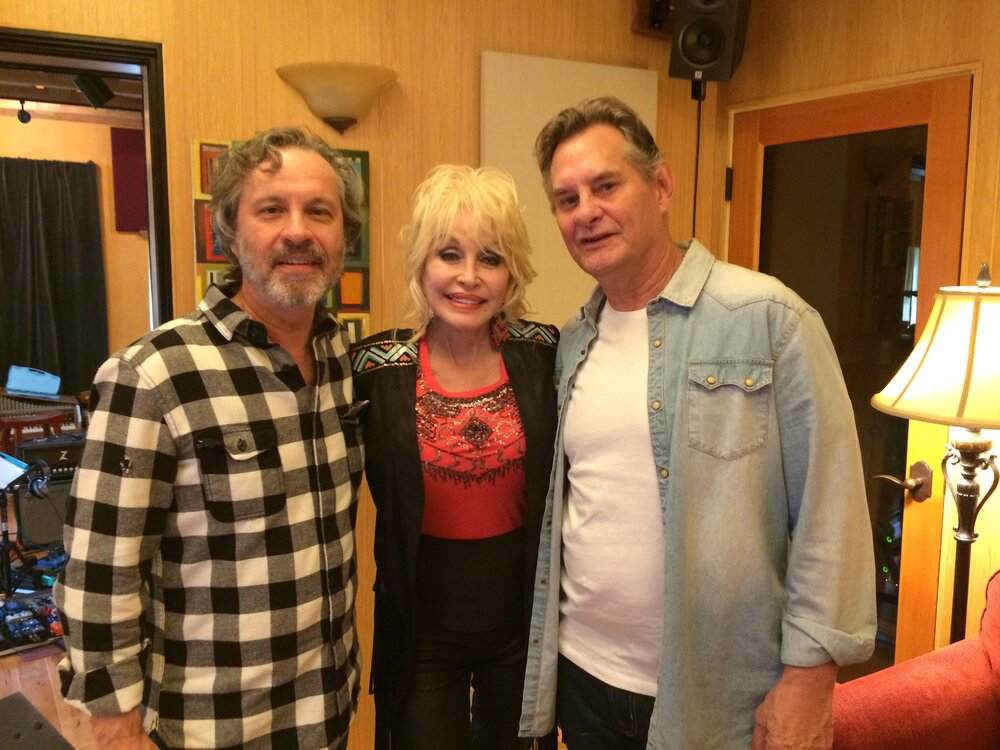 (L to R): Mark Leggett, Dolly Parton and Velton Ray Bunch in studio for the making of the soundtrack to  Dolly Parton's Heartstrings