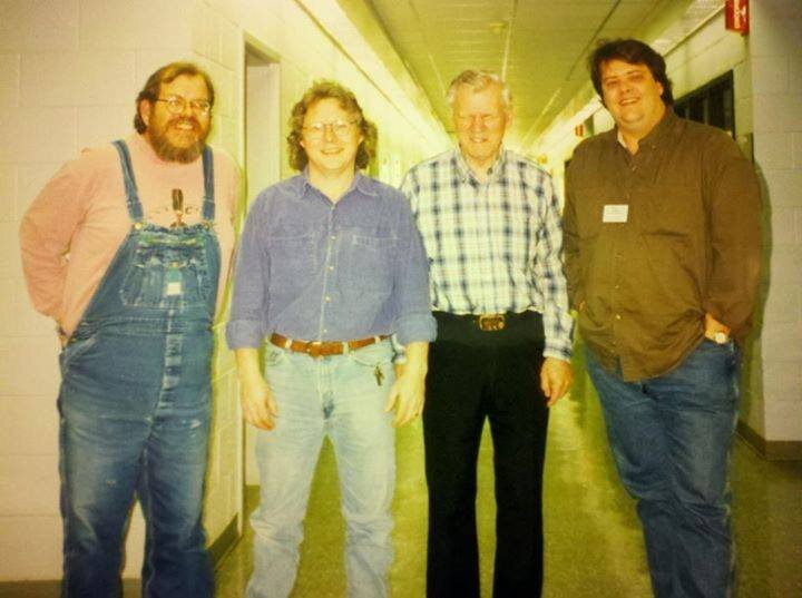 (L to R) WNCW host Marshall Ballew, Jack Lawrence, Doc Watson, and WNCW Program Director Dan Reed at WNCW in 1997. Photo: Linda Osbon Bost
