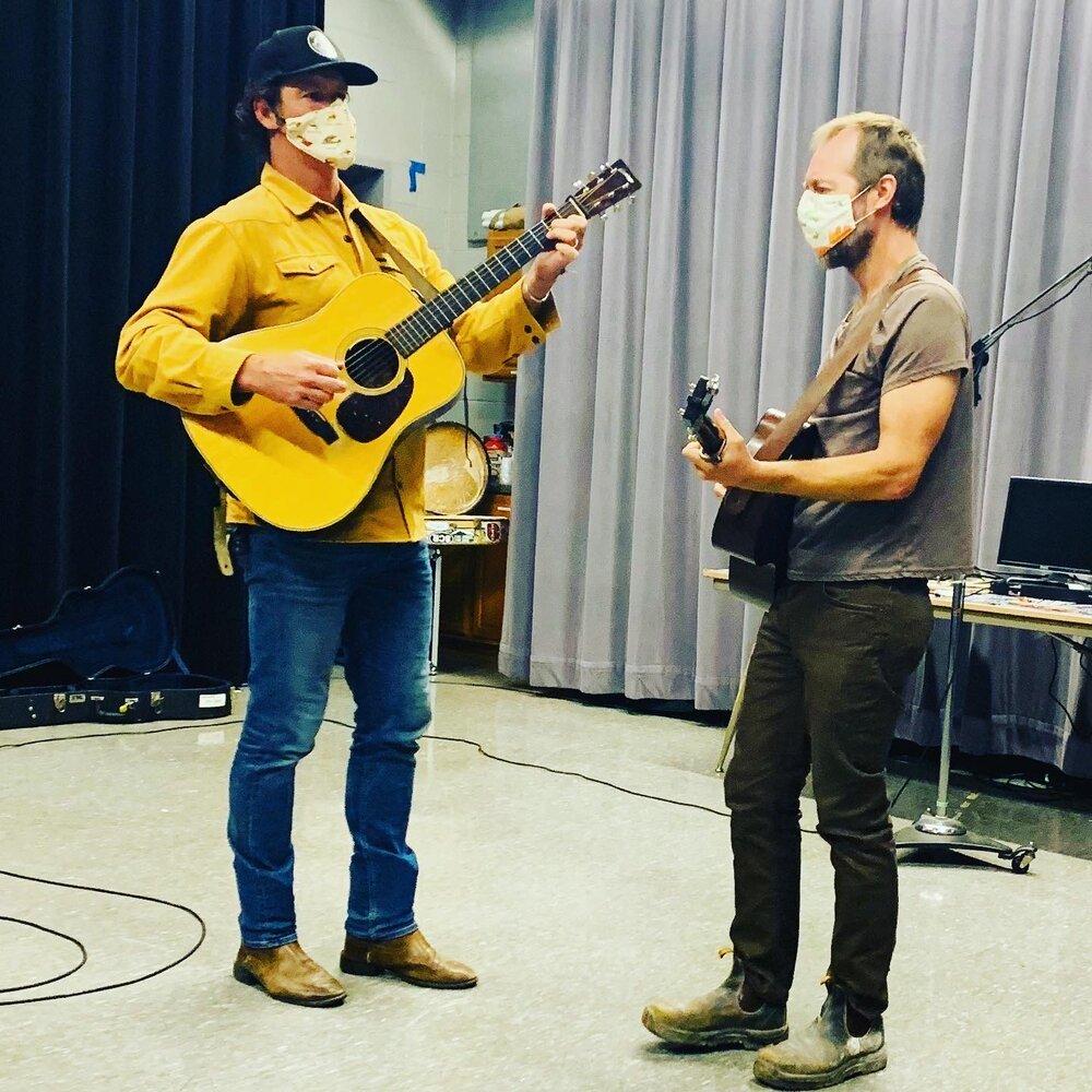 (l to r) Woody Platt and Graham Sharp warm up in WNCW's Studio B 9/28/20 Photo: Mike Gavin