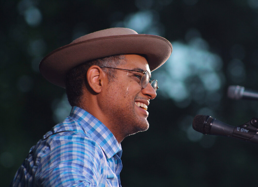 Dom Flemons performs at WNCW's Outback Opry drive-in concert September 2020 (photo: Daniel Coston)