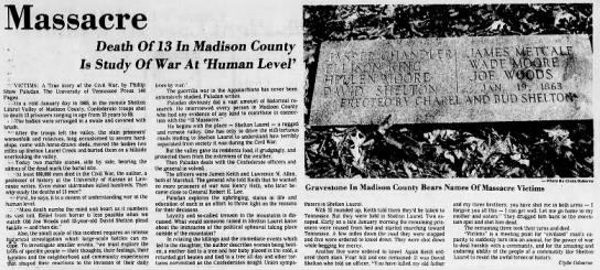 Asheville Citizen-Times article on the Shelton Laurel Massacre from 1981