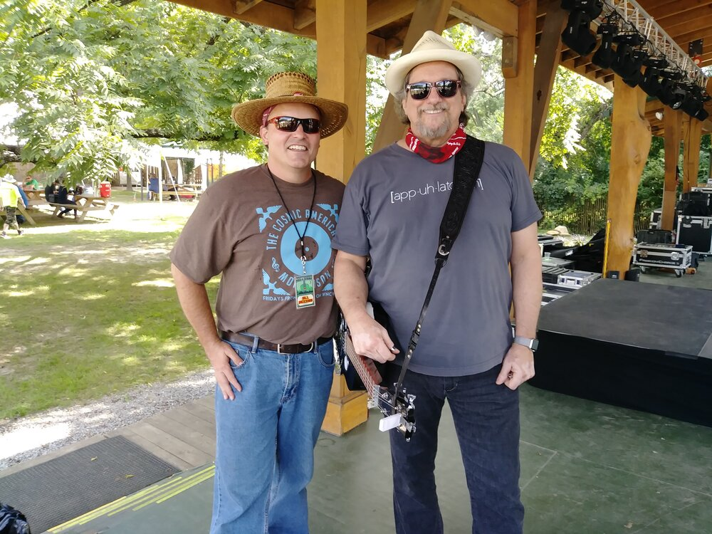 Joe Kendrick and Jerry Douglas on stage at Pisgah Brewing in Black Mountain, NC 08-25-18