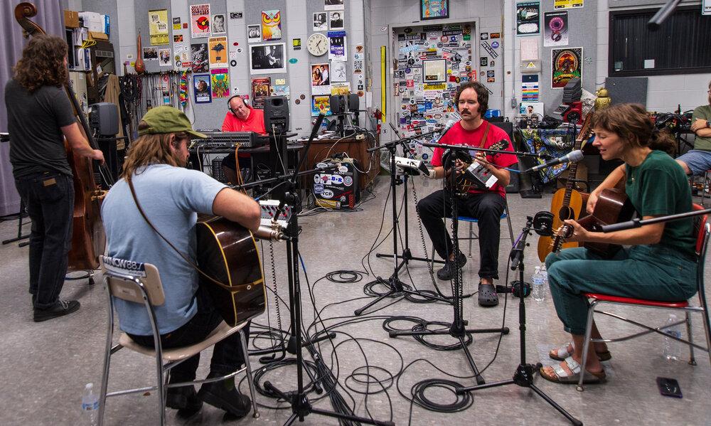 (L to R) Clint Mullican, Josh Oliver, Sean Rubin, Andrew Marlin and Emily Frantz in WNCW's Studio B. Photo: Brenda Craig