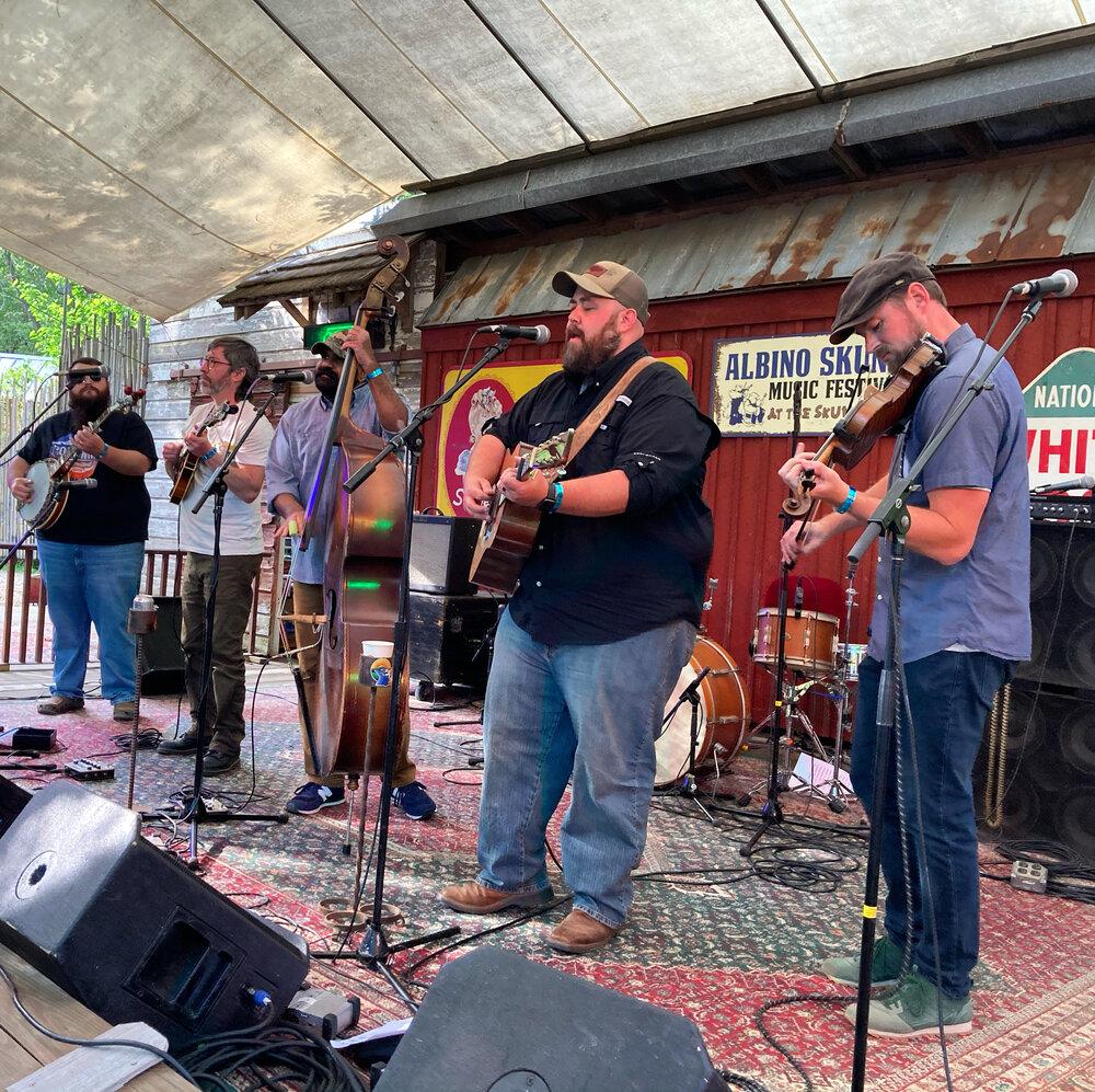 (l to r) Zane McGinnis, Ty Gilpin, Sav Sankaran, Audie McGinnis and Tim Gardner of Unspoken Tradition perform at Albino Skunk Music Festival on May 14, 2021