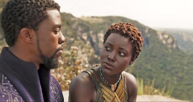 Lupita Nyong'o as Nakia with Chadwick Boseman as T'Challa, the Black Panther. Credit: Glamour Magazine, 2018