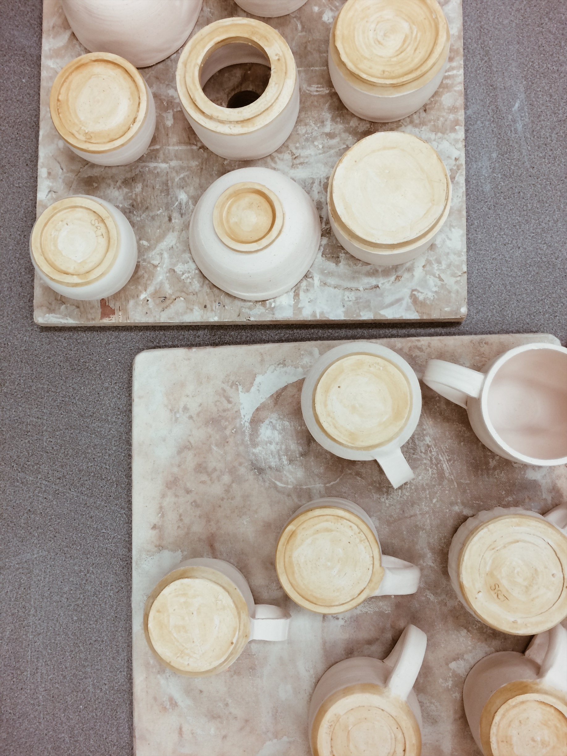 Students' first pots.
