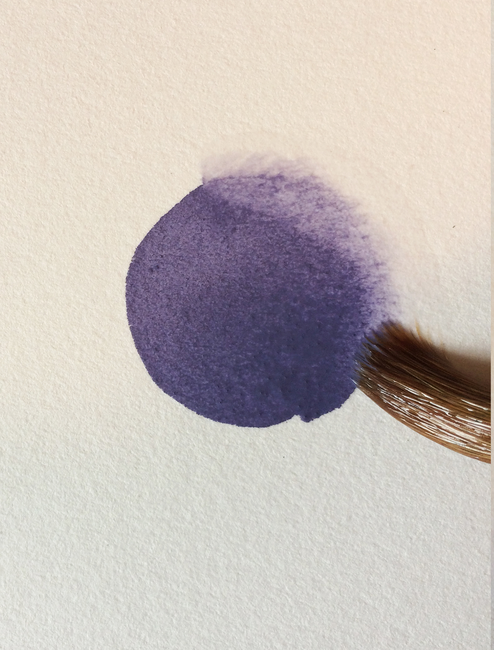 I painted the dark purple shape directly on the paper, and used my clear brush to fade the edge into the paper.