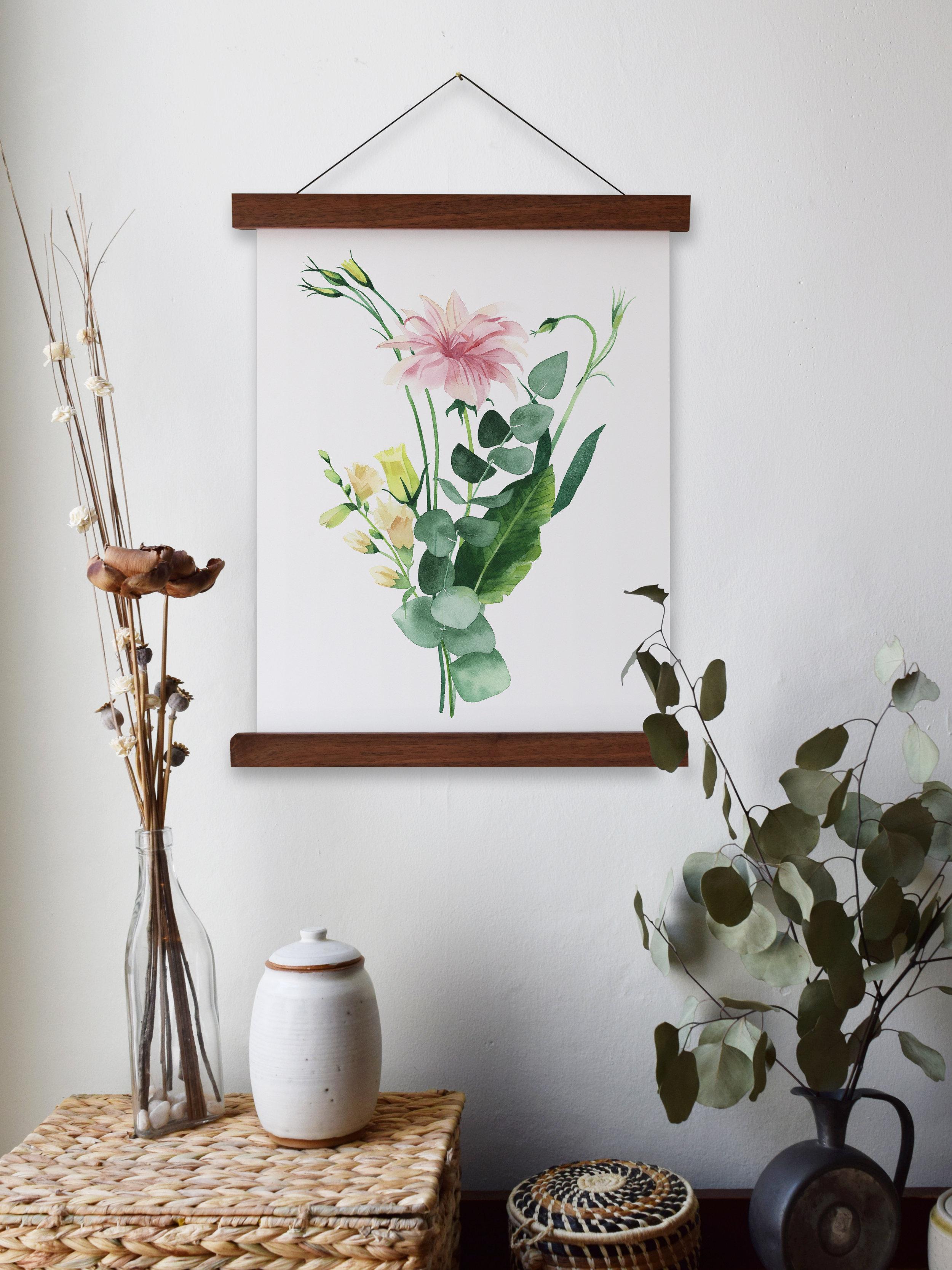 Framed watercolor eucalyptus artwork