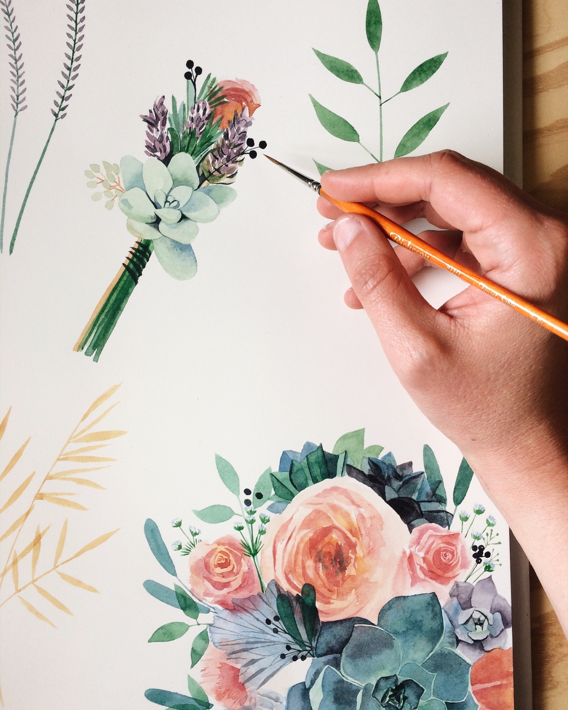 Hand-painted watercolor flowers