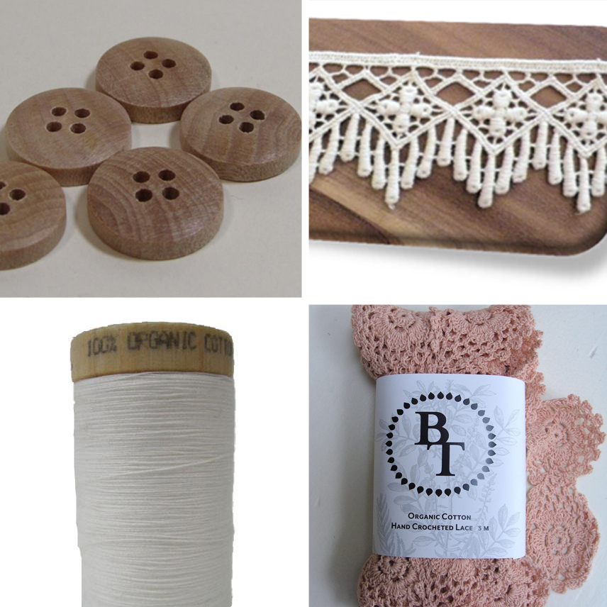1. 15mm Wood Round Sm - 5 Pack  2. Lace-45mm-Natural 3.  Thread-White  4. Hand-Crocheted Lace-50mm-Rose