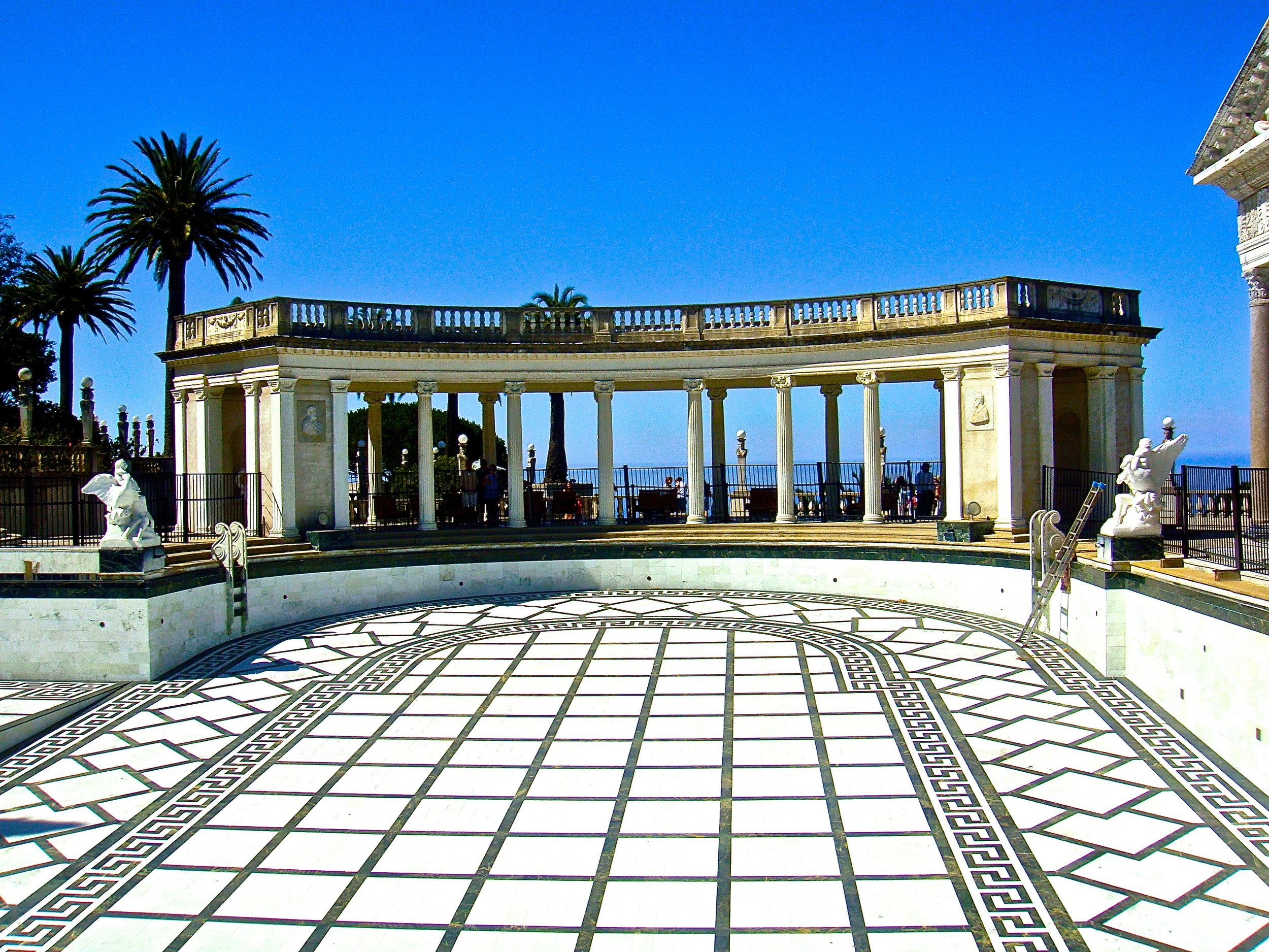 The west end of the Hearst Castle Neptune Pool with the Pacific Ocean in the background.