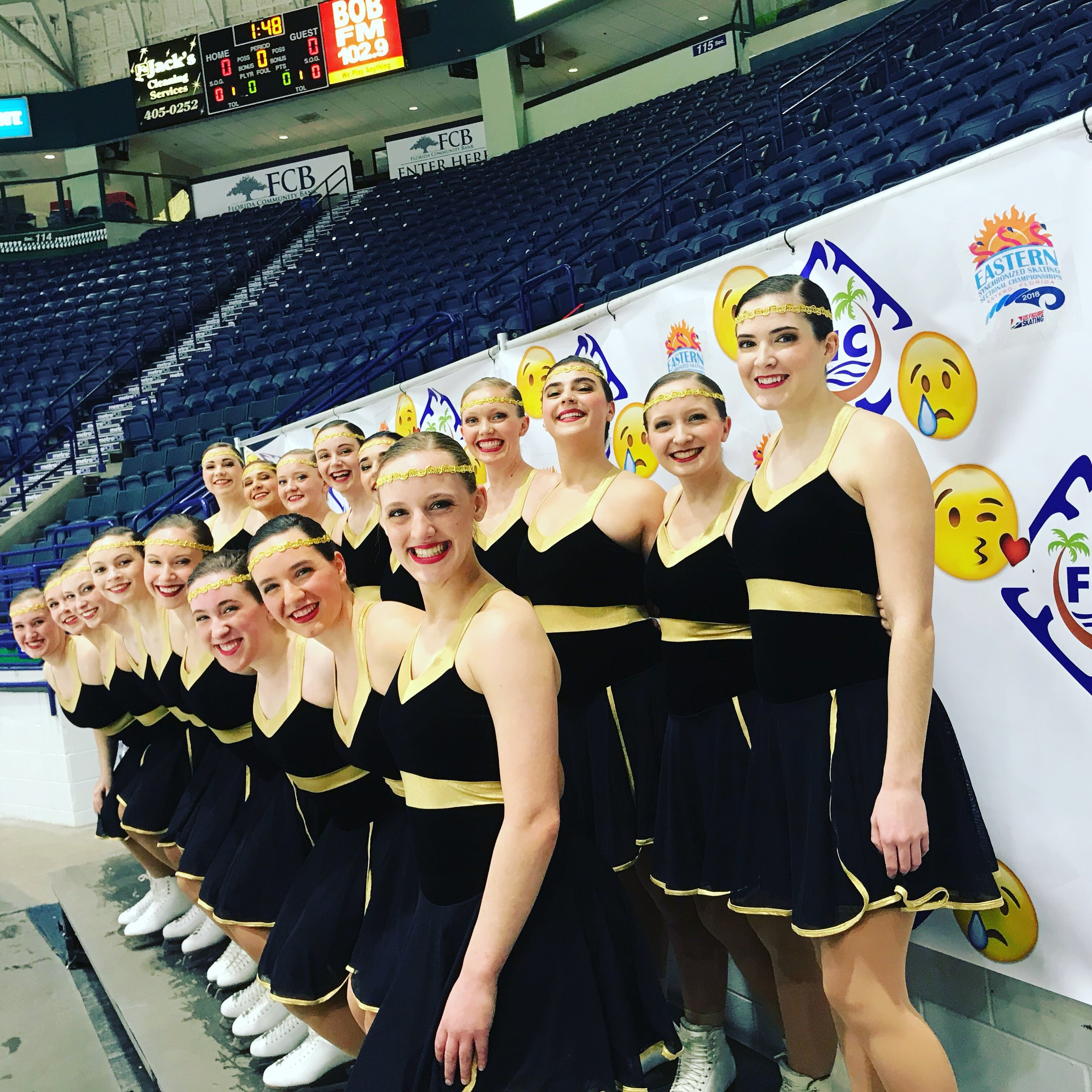 The University of Vermont Synchronized Skating Team traveled to Estero, Florida for the 2018 Eastern Sectional Synchronized Skating Championships in January and skated to a strong 6th place finish in the Open Collegiate level! The team returned from the sun energized to train for next season. Join us as we close out the 2017-2018 season with a show in Middlebury on February 25th and at UVM on April 15th.