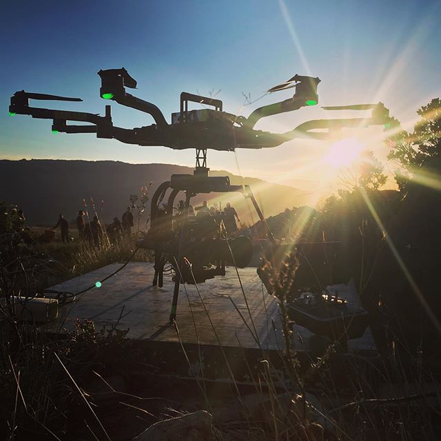 Haven't posted in a while, so here's a sexy backlit #drone on set camera operating w/ @helio_imagery and @fchamman . . . #filmmaking #movie #lighterisbetter #dronestagram #cinematography #aerial #arri #mōvimethod #alta8 #alexamini #gimbaloperator #movipro #freefly #panavision #backlight #mountains #dronephotography #sunrise #cederberg #onset #southafrica