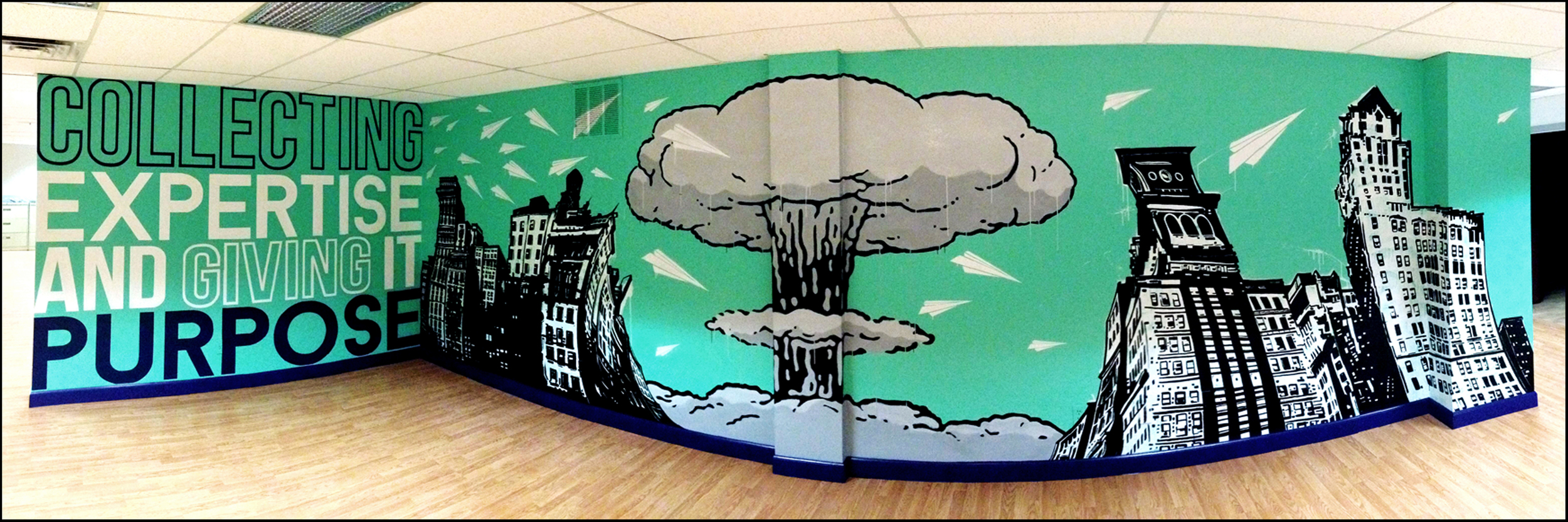 Full view of large-scale, hand-painted mural inside  Hudson Collective .
