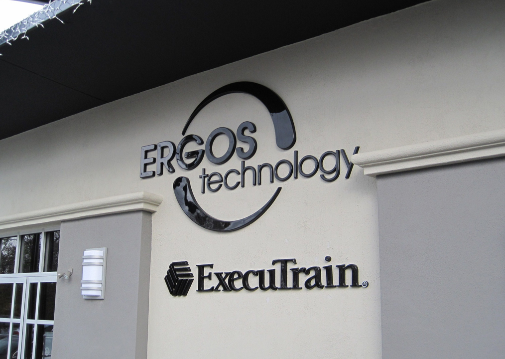 Custom Formed Plastic Letters with Pigmented Gloss Finish - ERGOS Technology / Executrain, Houston TX