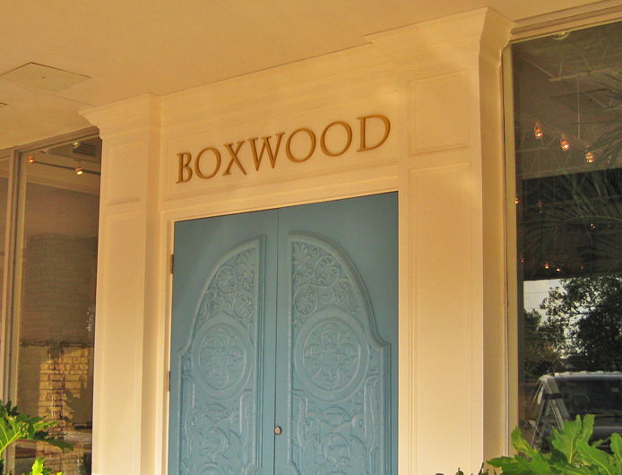 Pure Solid Bronze Flat Waterjet-cut Letters - Boxwood Interiors in Montrose Area, Houston TX