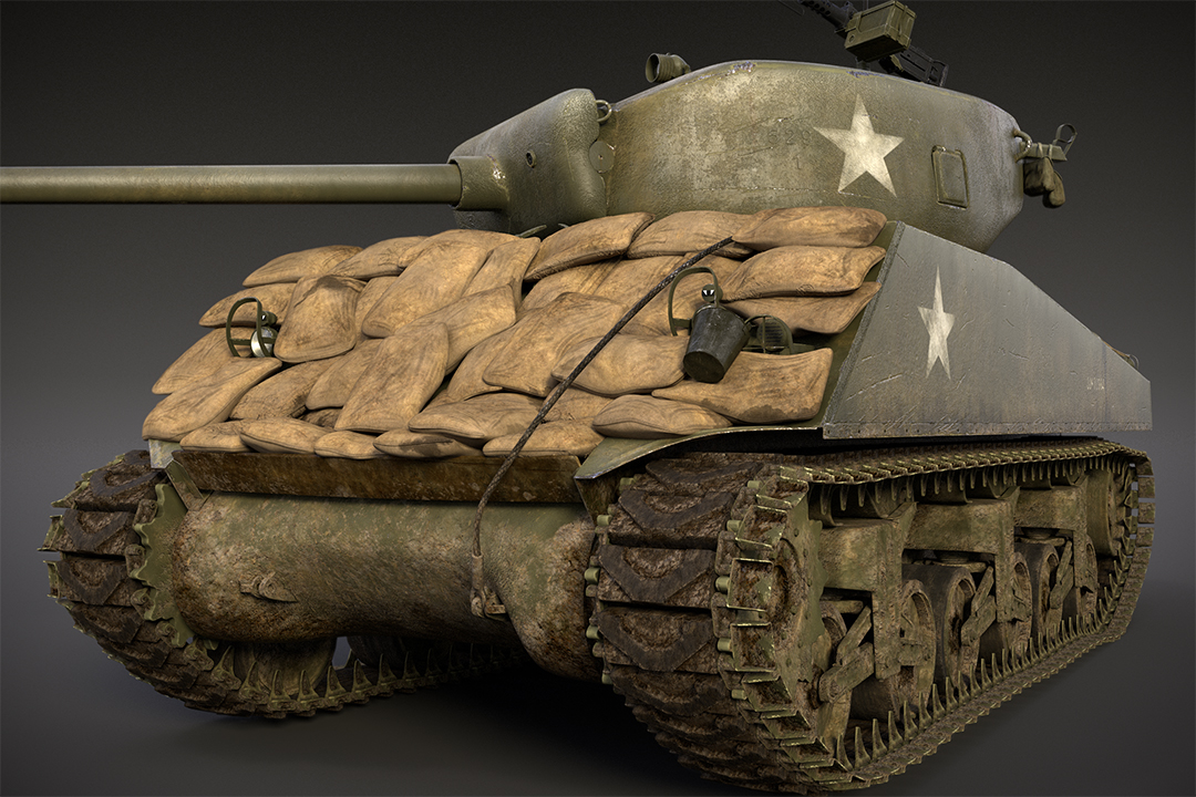 The Sherman has a few different version of stowage. This one I added the sand bag arrmor .The sandbags were modeled in Modo and I also used MD3 and Zbrush to complete this task