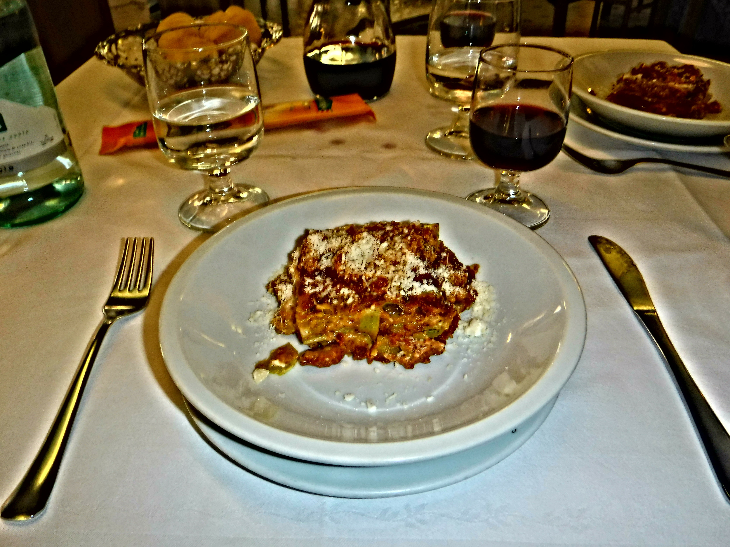 7. 1st course of delicate lasagne verdi-spinach flavored pasta with meat ragout & béchamel sauce.JPG