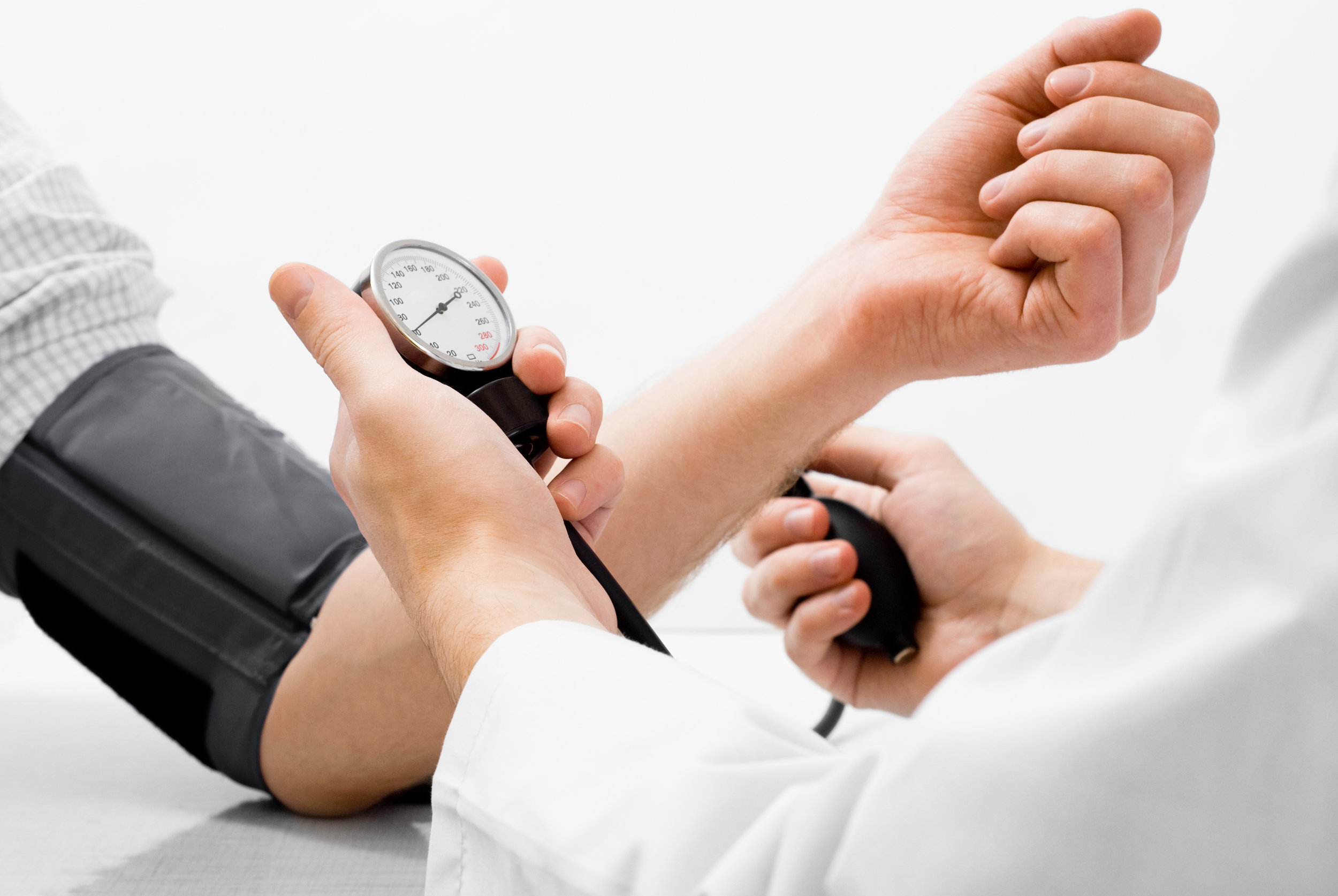 Blood pressure measuring studio shot