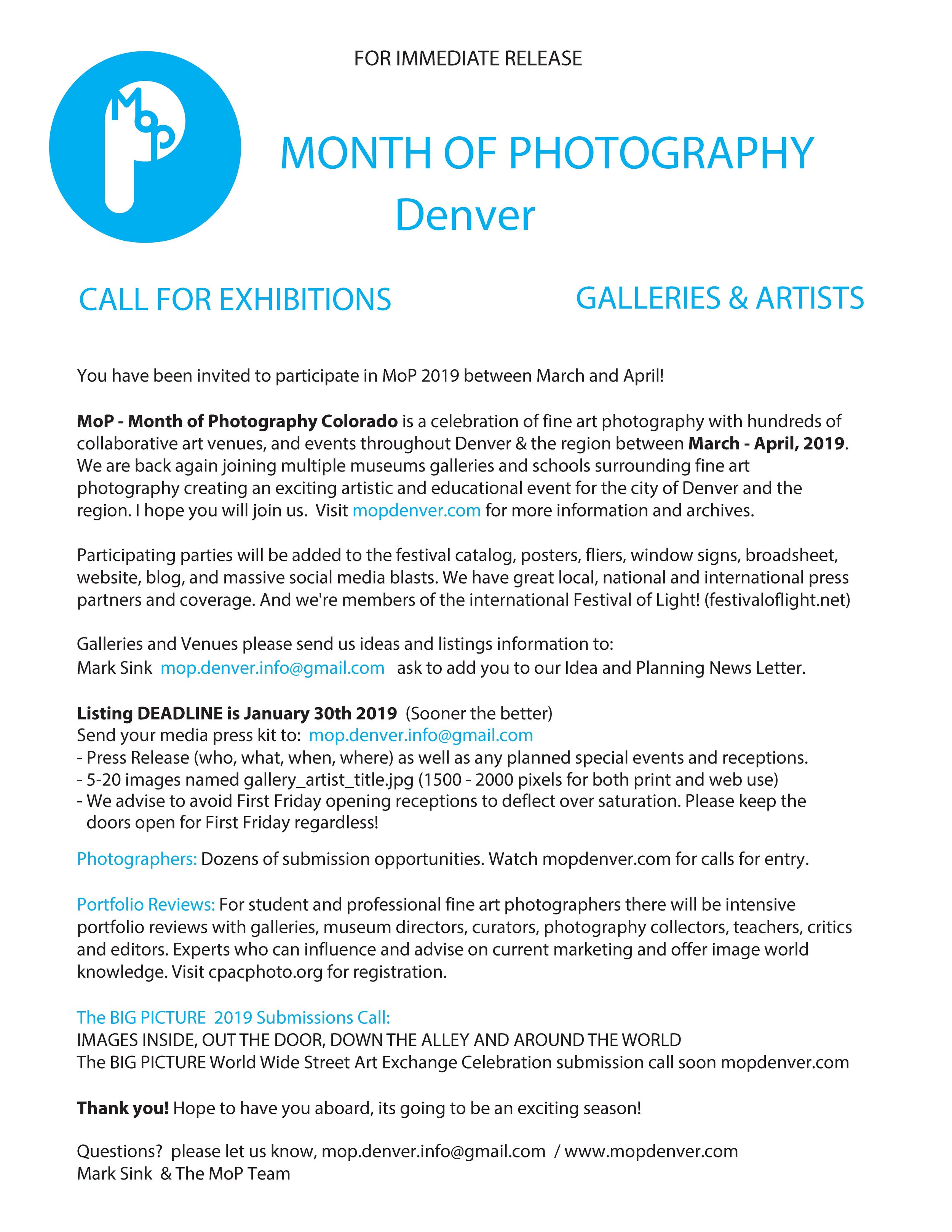 MOP CALL FOR EXHIBITIONS - 01 30 19 — Month of Photography