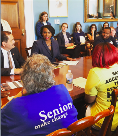 Homes Guarantee leaders from People's Action meet with Rep. Chuy Garcia and Rep. Ayanna Pressley at a briefing co-hosted by the CPC Center