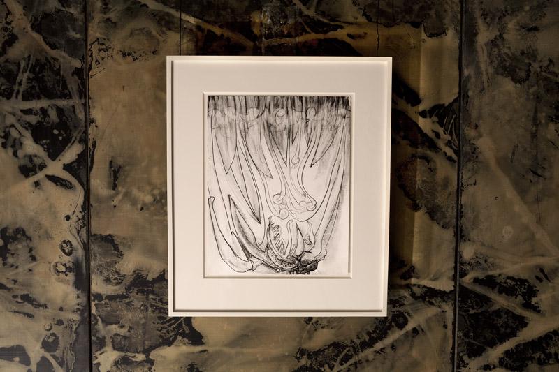 """Quicken,  2012, graphite on paper, 14 x 11 inches, """"Enceinte"""" installation view."""