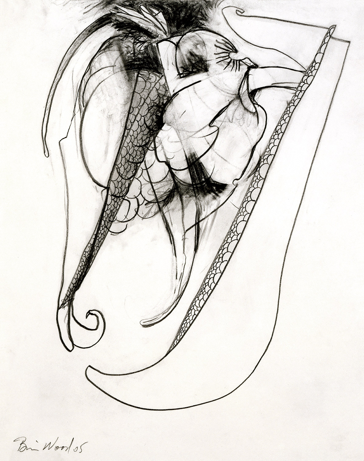 "Brian Wood <br> ""Hook,"" 2005 <br> Graphite on paper <br> 14 x 11 in."