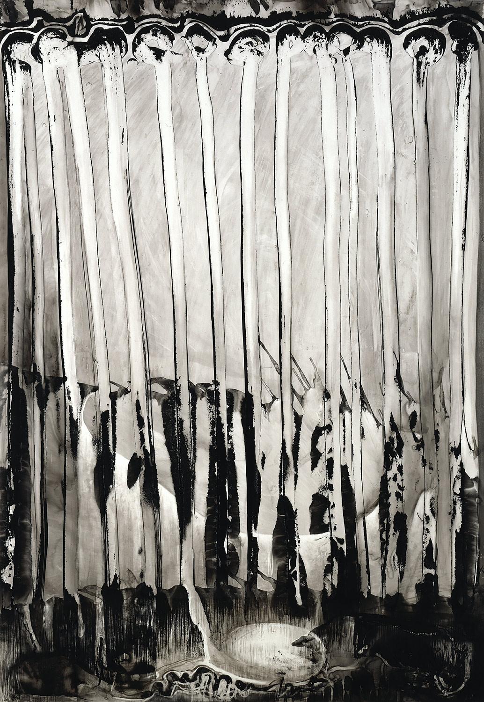 "Brian Wood <br> ""Night Light,"" 2007 <br> Ink on mylar <br> 67 x 46 in."