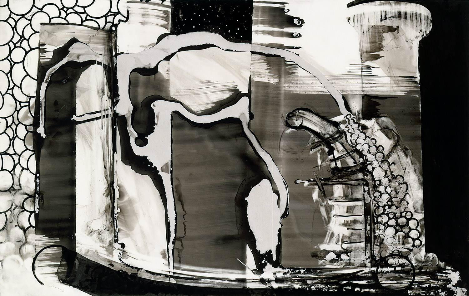 """Brian Wood <br> """"Iacchus,"""" 2001 <br> Ink on mylar <br> 10.5 x 16 in."""