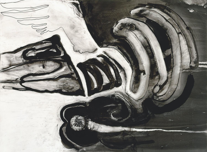 """Brian Wood <br> """"Flight,"""" 2000 <br> Ink on mylar <br> 15 x 20.5 in."""
