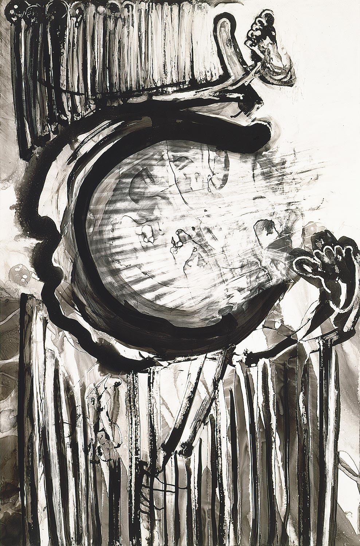 "Brian Wood <br> ""Thrust,"" 2001 <br> Ink on mylar <br> 35 x 23.5 in."