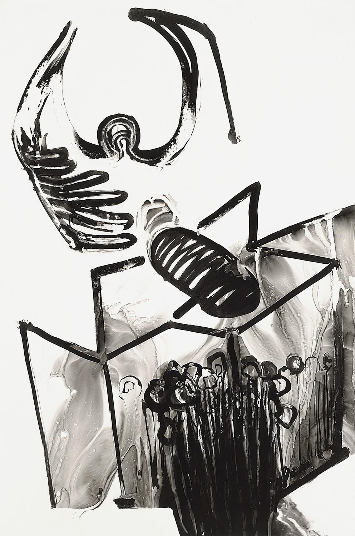 "Brian Wood <br> ""Skytop,"" 2001 <br> Ink on mylar <br> 35 x 23.5 in."